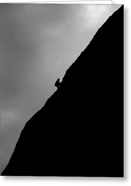 Solitary Activities Greeting Cards - Mountain Climber Solitude Greeting Card by Artur Bogacki