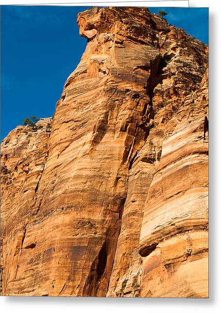 Geobob Greeting Cards - Mountain Climbers Zion National Park Utah Greeting Card by Robert Ford