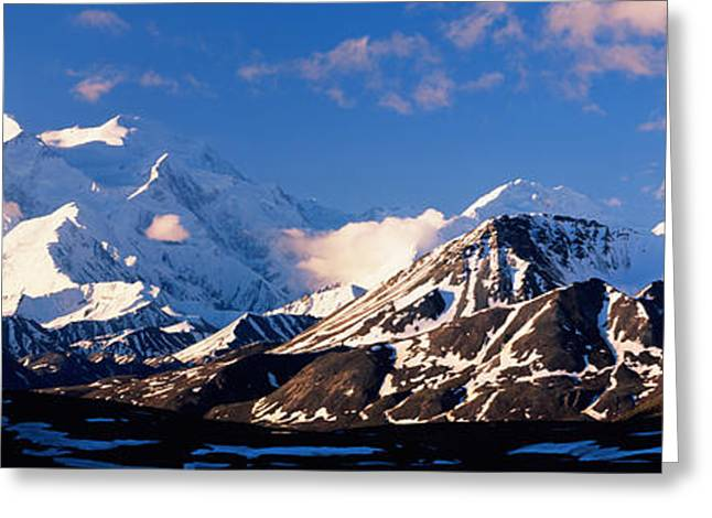 Denali National Park Greeting Cards - Mountain Covered With Snow, Alaska Greeting Card by Panoramic Images