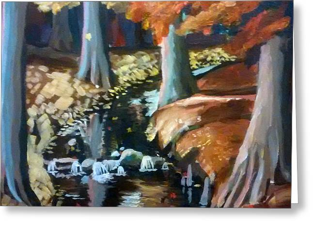 Little Red River Paintings Greeting Cards - Mountain Creek Greeting Card by Casey Caison