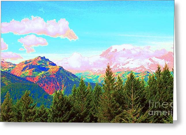 Mountain Fantasy Greeting Card by Ann Johndro-Collins