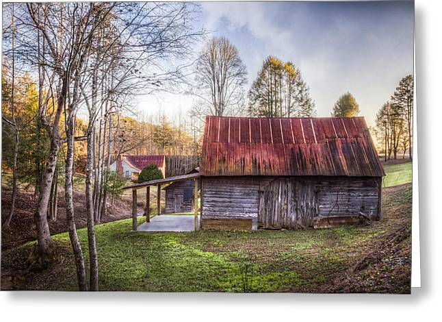 Old Country Roads Greeting Cards - Mountain Farm Greeting Card by Debra and Dave Vanderlaan