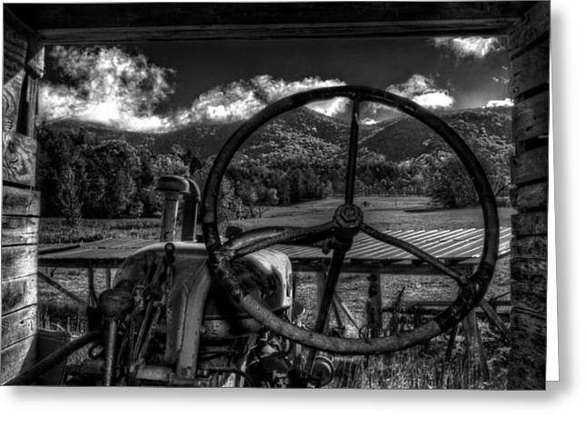 Western North Carolina Greeting Cards - Mountain Farm View in Black and White Greeting Card by Greg Mimbs