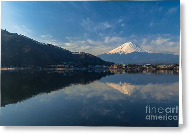 Reflex Greeting Cards - Mountain Fuji view from the lake in Japan. Greeting Card by Tosporn Preede