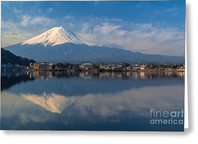 Reflex Greeting Cards - Mountain Fuji view from the lake Greeting Card by Tosporn Preede