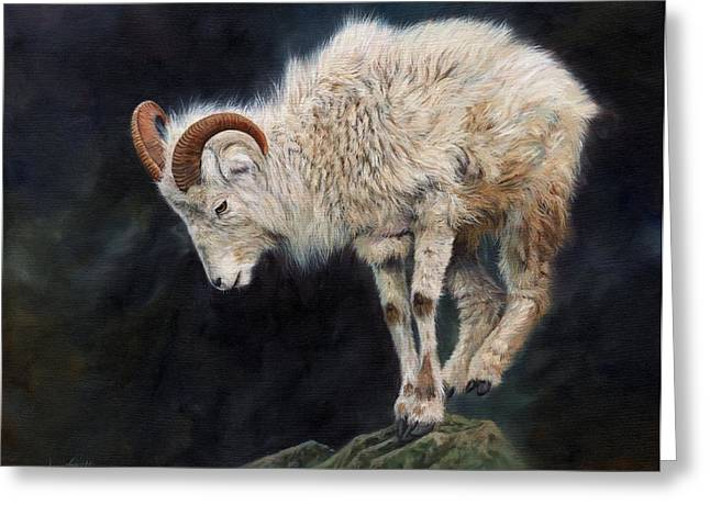 Mountains Prints Greeting Cards - Mountain Goat Greeting Card by David Stribbling