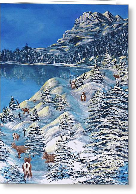 Ski Art Greeting Cards - Mountain Goats of Grand Forks Greeting Card by Barbara St Jean
