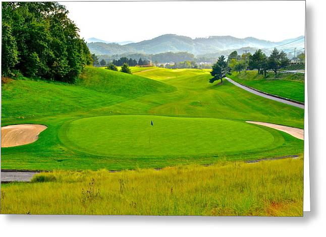 Us Open Golf Greeting Cards - Mountain Golf Greeting Card by Frozen in Time Fine Art Photography