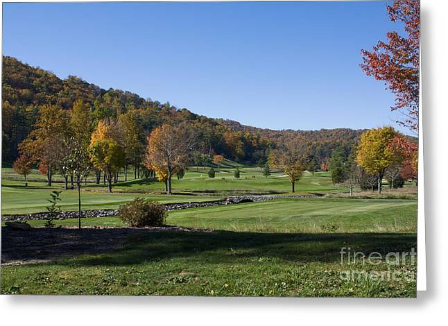 Golfcourses Greeting Cards - Mountain Golfcourse At Autumn Greeting Card by Ules Barnwell