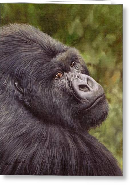 Primates Greeting Cards - Mountain Gorilla Painting Greeting Card by David Stribbling