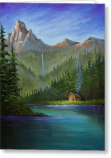 Bob Ross Paintings Greeting Cards - Mountain Haven Greeting Card by C Steele