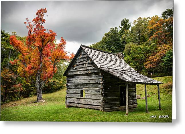 Mountain Cabin Greeting Cards - Mountain History Greeting Card by Walt  Baker
