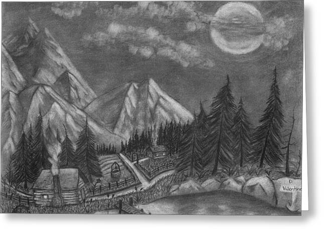 Mountain Cabin Drawings Greeting Cards - Mountain Home Greeting Card by Daniel Valentine