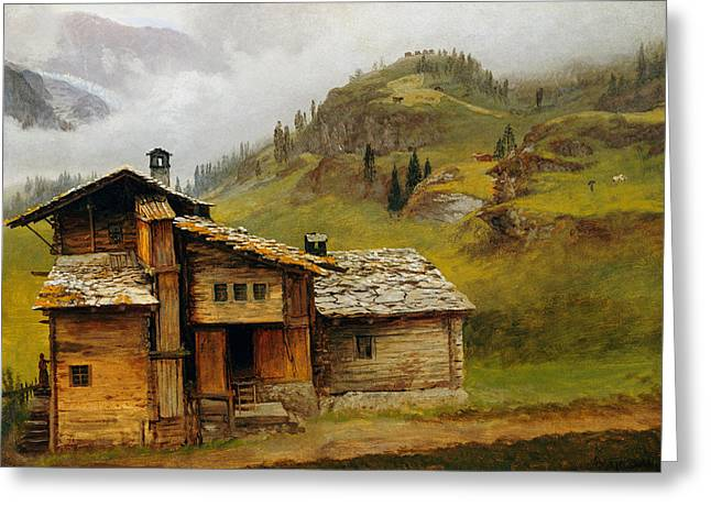 Foggy. Mist Greeting Cards - Mountain House  Greeting Card by Albert Bierstadt