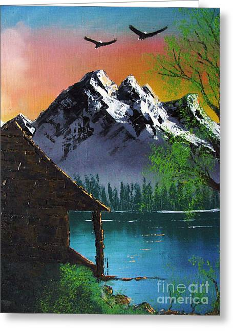 Nanas Art Greeting Cards - Mountain Lake Cabin w Eagles Greeting Card by Marianne NANA Betts