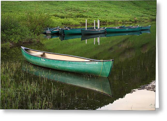 Green Canoe Greeting Cards - Mountain Lake Canoe Greeting Card by Aaron Spong