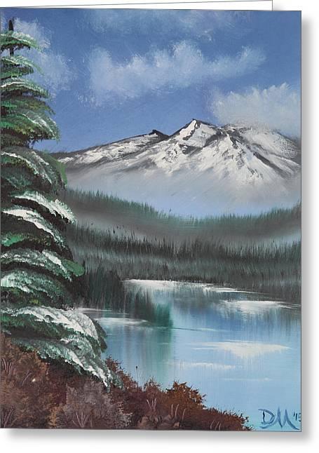 Bob Ross Paintings Greeting Cards - Mountain Lake Greeting Card by Diana Matlock