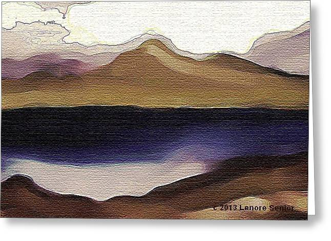 Abstract Expressionist Greeting Cards - Mountain Lake Greeting Card by Lenore Senior and Constance Widen