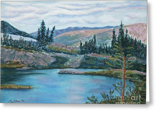 Hiking Pastels Greeting Cards - Mountain Lake Greeting Card by Mary Benke