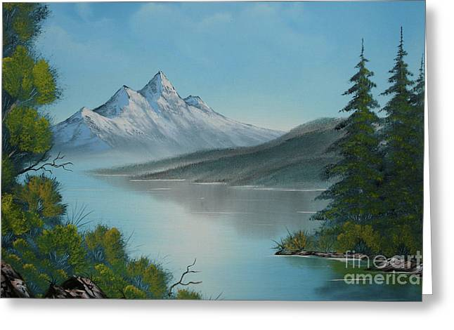 Coldly Greeting Cards - Mountain Lake Painting a la Bob Ross Greeting Card by Bruno Santoro