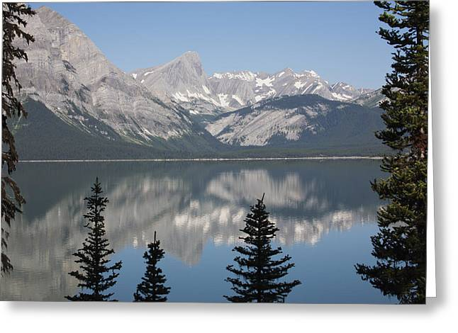 Mountain Lake Reflecting Mountain Range Greeting Card by Michael Interisano