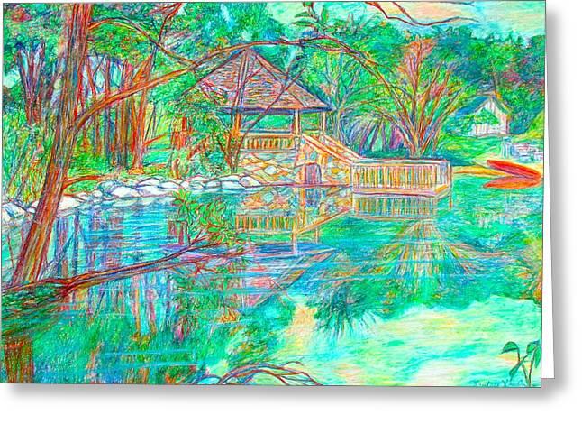 Mountain Lake Reflections Greeting Card by Kendall Kessler