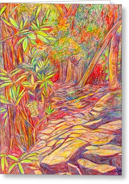 Setting Pastels Greeting Cards - Mountain Lake Trail Greeting Card by Kendall Kessler