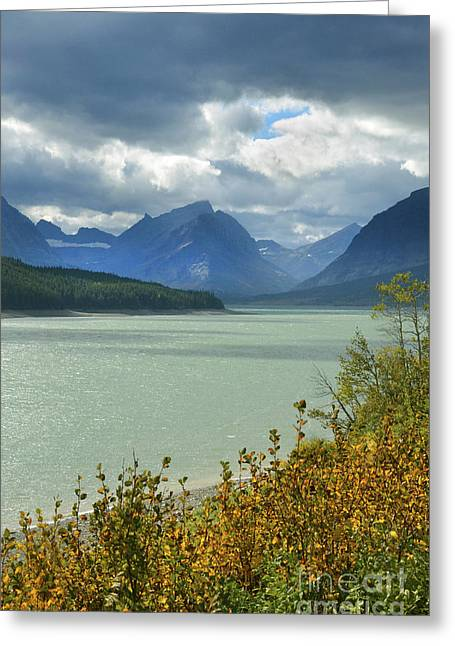 Dark Peak Greeting Cards - Mountain Lake with Stormy Skies Greeting Card by Jill Battaglia
