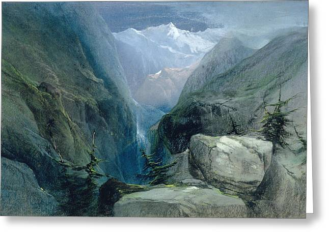 Ravine Greeting Cards - Mountain Landscape Greeting Card by Henry Bright