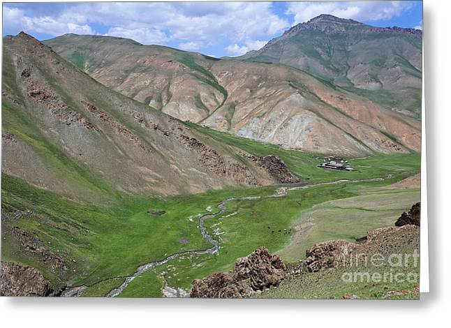 At-bashy Mountain Range Greeting Cards - Mountain landscape in the Tash Rabat Valley of Kyrgyzstan Greeting Card by Robert Preston