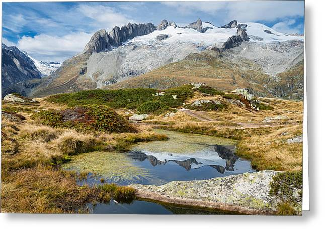 Swiss Photographs Greeting Cards - Mountain landscape water reflection Swiss Alps Greeting Card by Matthias Hauser