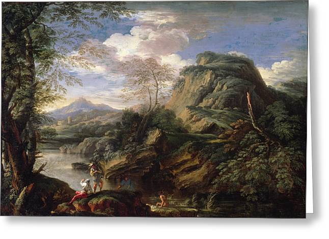 Arcadian Greeting Cards - Mountain Landscape With Figures Greeting Card by Salvator Rosa