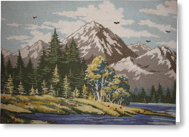 Beautiful Tapestries - Textiles Greeting Cards - Mountain Lanscape Greeting Card by Eugen Mihalascu