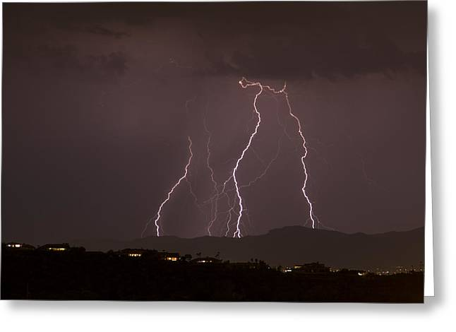 Arizona Lightning Greeting Cards - Mountain Light Show Greeting Card by Cathy Franklin