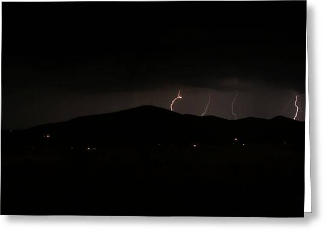 Prescott Greeting Cards - Mountain Lightning Greeting Card by Aaron Burrows
