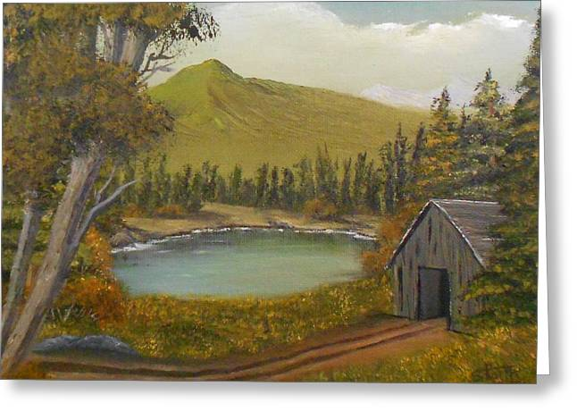 Mountain Line Shack Greeting Card by Sheri Keith
