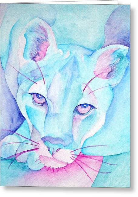 Purple Mountains Drawing Greeting Cards - Mountain Lion in Blue Greeting Card by SX Sunset