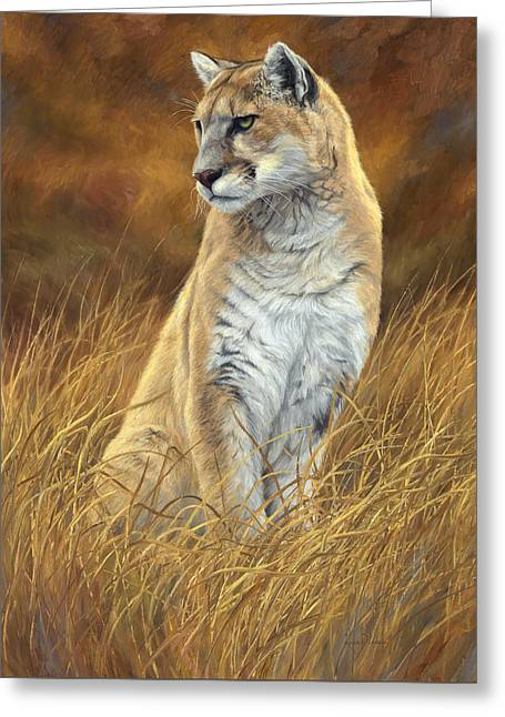 Outdoors Paintings Greeting Cards - Mountain Lion Greeting Card by Lucie Bilodeau