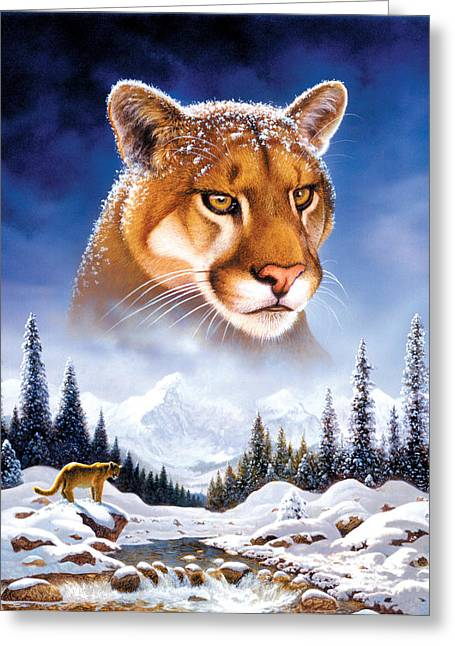 Cats Photographs Greeting Cards - Mountain Lion Greeting Card by MGL Studio - Chris Hiett
