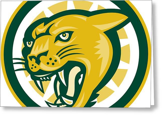 Growling Digital Greeting Cards - Mountain Lion Puma Big Cat Head Greeting Card by Aloysius Patrimonio