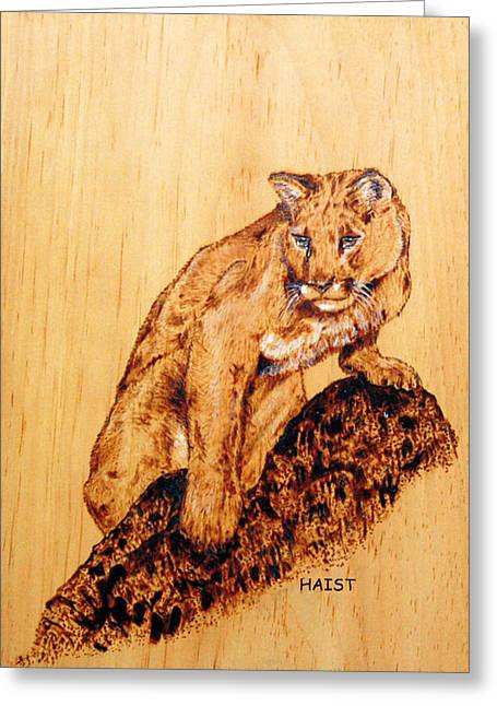 Cat Pyrography Greeting Cards - Mountain Lion Greeting Card by Ron Haist