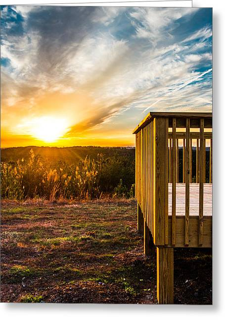 Alabaster Greeting Cards - Mountain Lookout At Sunset Greeting Card by Parker Cunningham