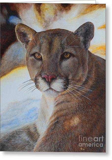 Puma Pictures Greeting Cards - Mountain Lyin - Watercolor Greeting Card by GD Rankin
