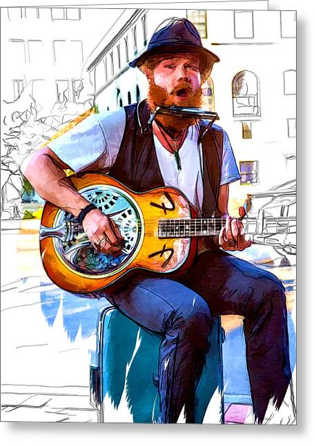 Small Towns Mixed Media Greeting Cards - Mountain Man Music Greeting Card by John Haldane