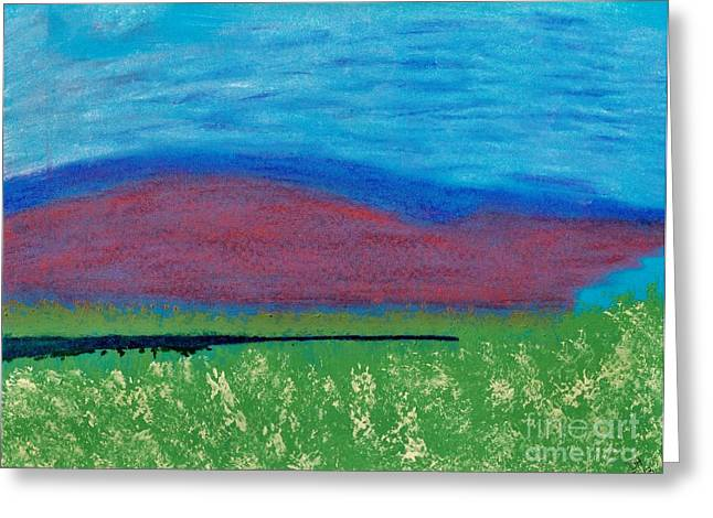 Mountain - Meadow - Abstract Greeting Card by D Hackett