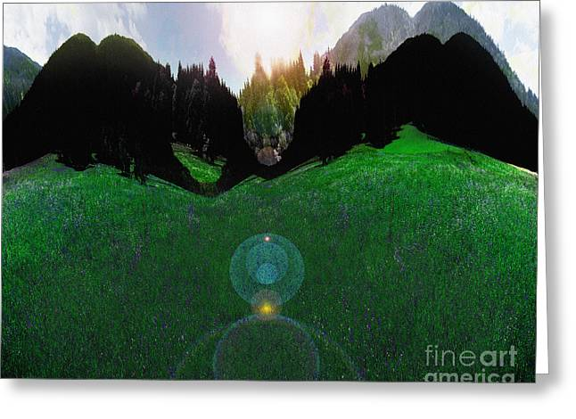 Digitally Created Greeting Cards - Mountain Meadow Greeting Card by Edmund Nagele