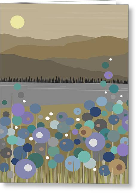 River View Digital Art Greeting Cards - Mountain Meadow Morning Greeting Card by Val Arie
