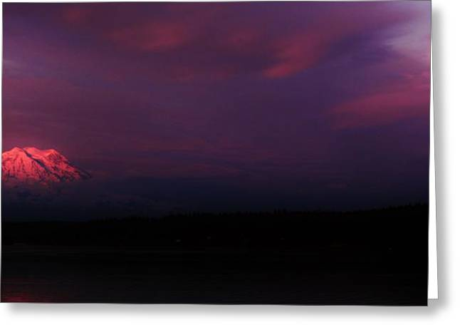 Moonrise Greeting Cards - Mountain Moon Panorama Greeting Card by Benjamin Yeager