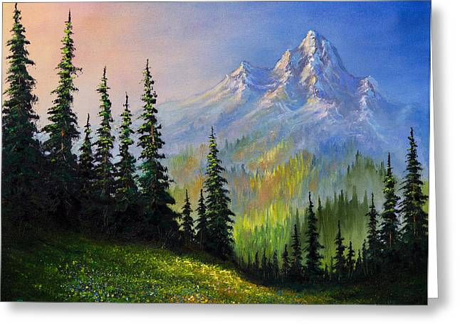 Bob Ross Paintings Greeting Cards - Mountain Morning Greeting Card by C Steele