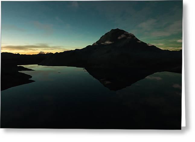 Terragen Greeting Cards - Mountain Morning Star Greeting Card by Hakon Soreide